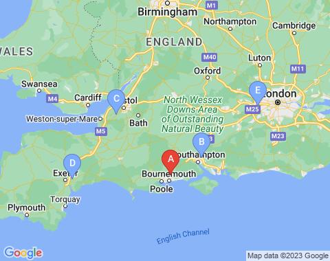 Kaart Bournemouth