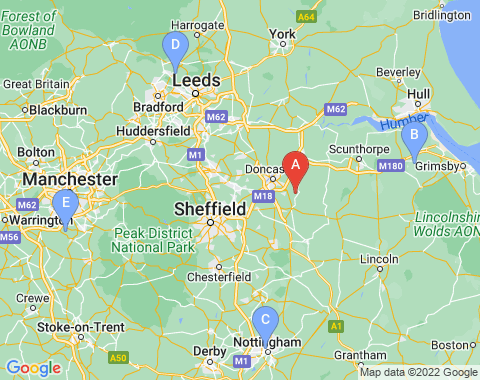 Kaart Doncaster Sheffield