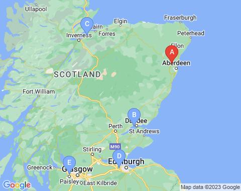 Kaart Aberdeen