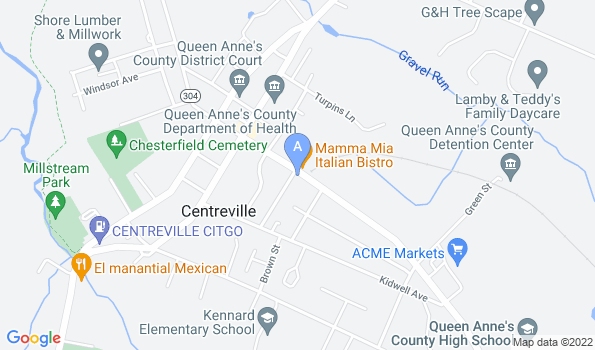 Street map of Centreville Town and Country Animal Hospital