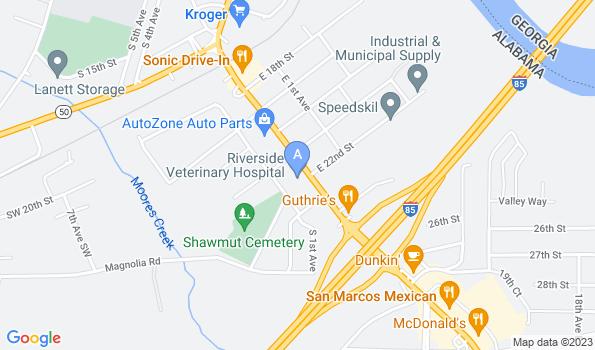 Street map of Riverside Veterinary Hospital