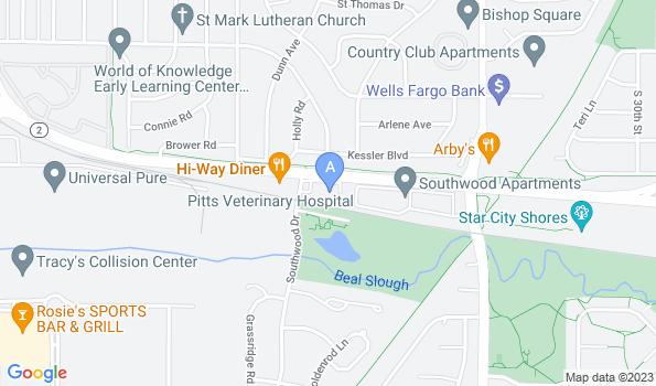 Street map of Pitts Veterinary Hospital