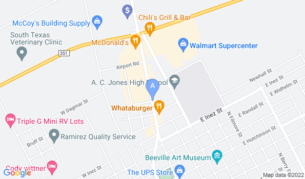 Street map of Beeville Veterinary Hospital
