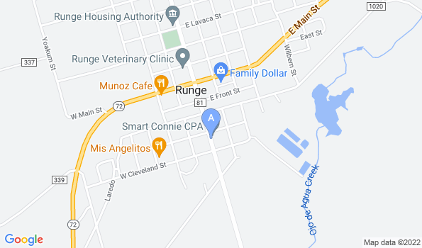 Street map of Runge Veterinary Clinic