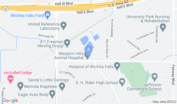 Street map of Western Hills Animal Hospital