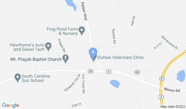 Street map of Outlaw Veterinary Clinic