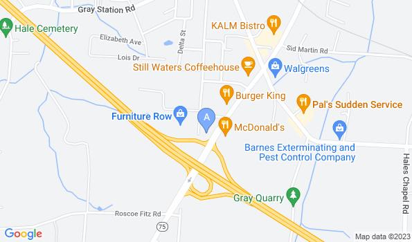 Street map of Robinson Animal Hospital – Gray
