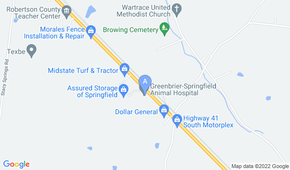 Street map of Pet Clinic in Springfield TN | Greenbrier-Springfield Animal Hospital