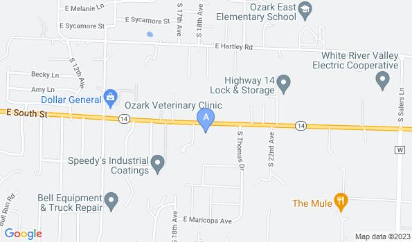 Street map of Ozark Veterinary Clinic