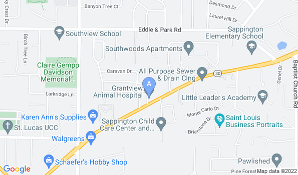 Street map of Grantview Animal Hospital