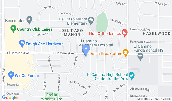 Street map of El Camino Veterinary Hospital