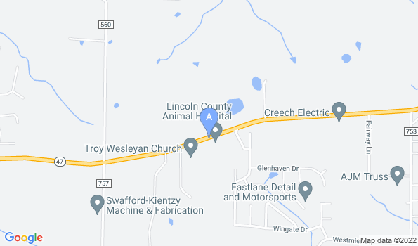 Street map of Lincoln County Animal Hospital