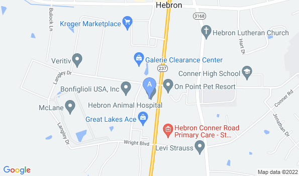 Street map of Hebron Animal Hospital