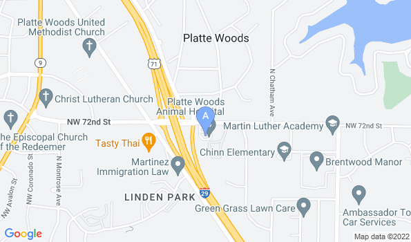 Street map of Platte Woods Animal Hospital