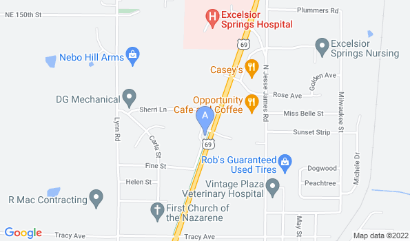 Street map of Excelsior Springs Animal Clinic