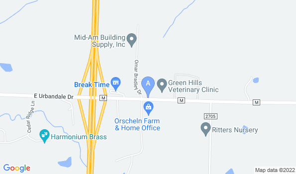 Street map of Green Hills Veterinary Clinic