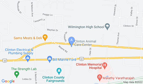 Street map of Clinton Animal Care Center