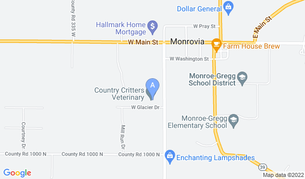 Street map of Country Critters Vet Clinic