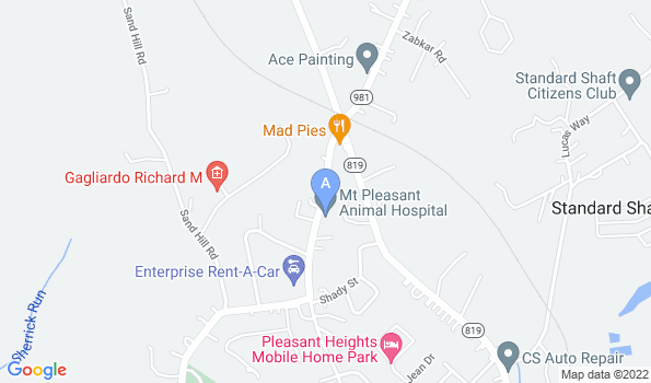 Street map of Mt. Pleasant Animal Hospital