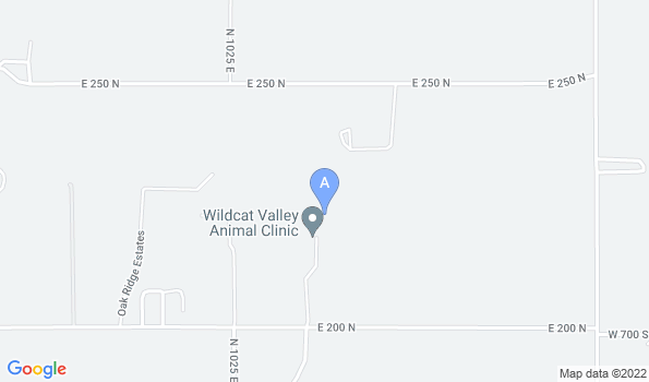Street map of Wildcat Valley Animal Clinic