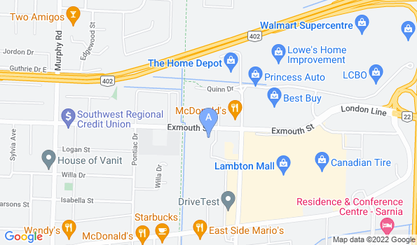 Street map of Sarnia Animal Hospital