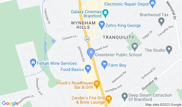 Street map of Brantford Veterinary Clinic