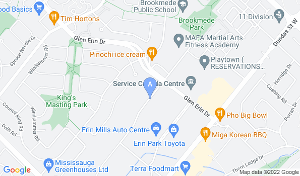 Street map of Erin Mills Pet Hospital