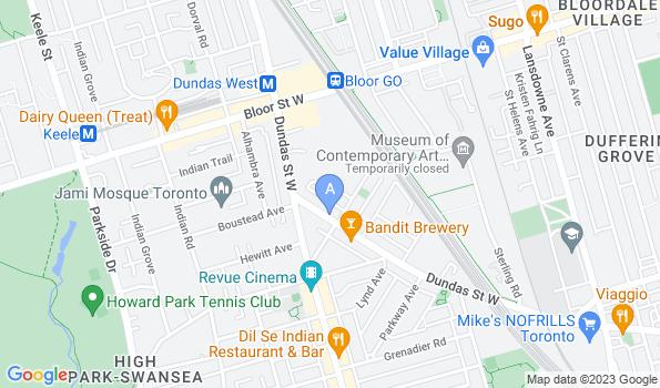 Street map of Dundas West Animal Hospital