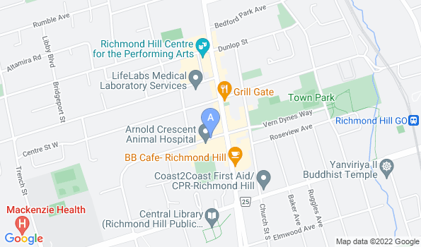 Street map of Arnold Crescent Animal Hospital