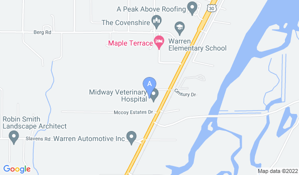 Street map of Midway Veterinary Hospital