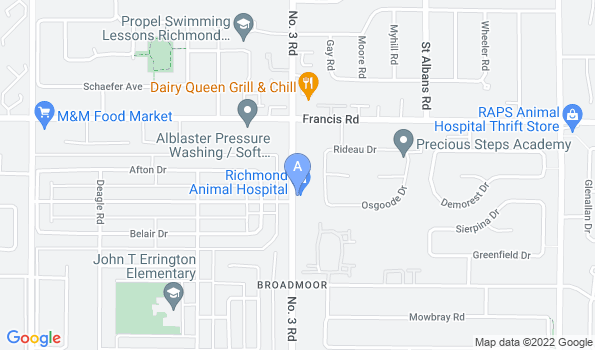 Street map of Richmond Animal Hospital