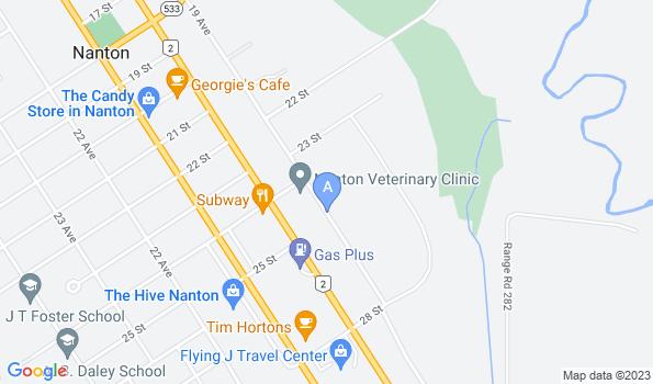 Street map of Nanton Veterinary Clinic