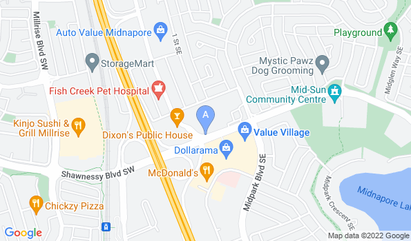 Street map of Midlake Veterinary Clinic