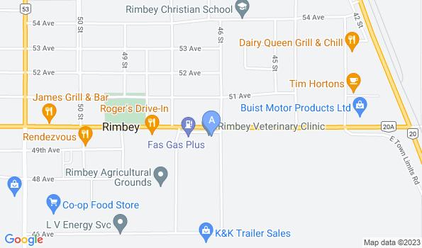 Street map of Rimbey Veterinary Clinic
