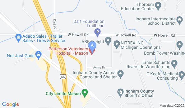Street map of Patterson Veterinary Hospital – Mason